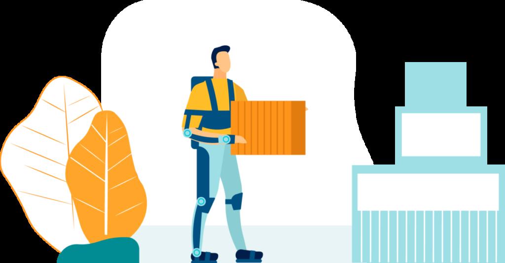 Homme portant un exosquelette pour porter des cartons sans douleurs